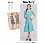 8686 Simplicity Pattern: Misses' Vintage 1940's Dress